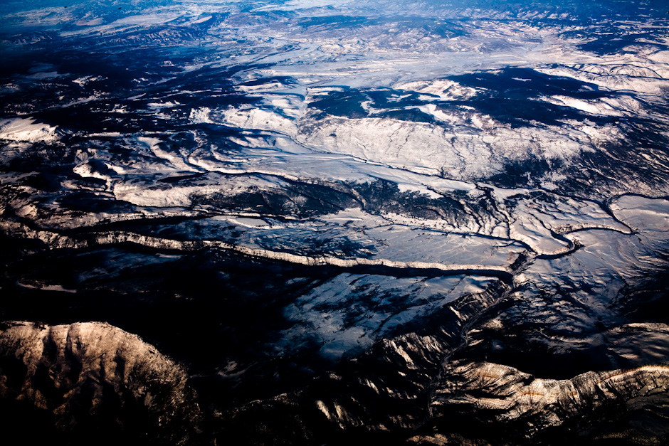 Contrasty Winter Scene – Mountains from the air