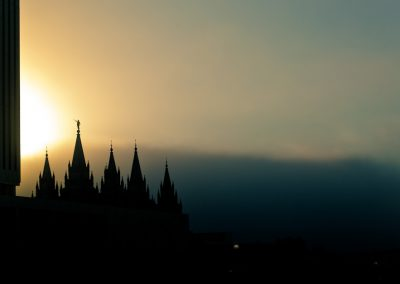 Potential Titles - Salt Lake Temple silhouetted against an incoming storm | Blurbomat.com