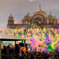 Bloom - Synchronized color throw at Holi 2012, Spanish Fork Krishna Temple | Blurbomat.com