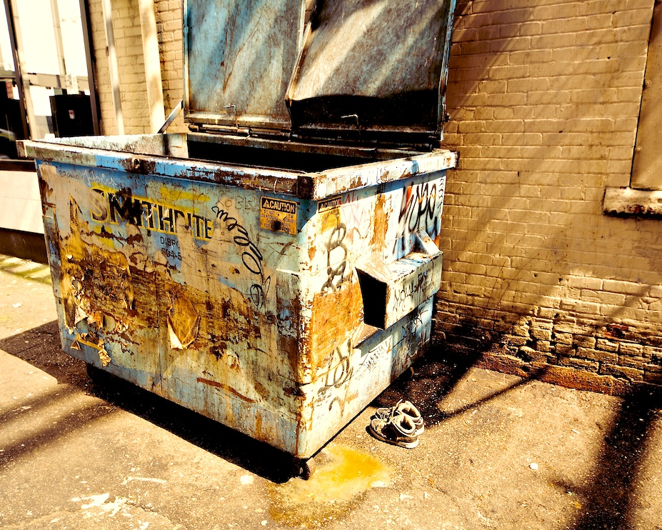 Dumpster with Juice and Shoes
