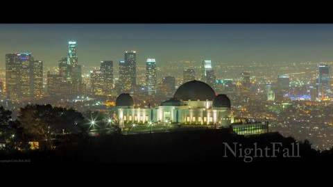 Nightfall a screengrab of a sweet video showing Los Angeles through time lapse