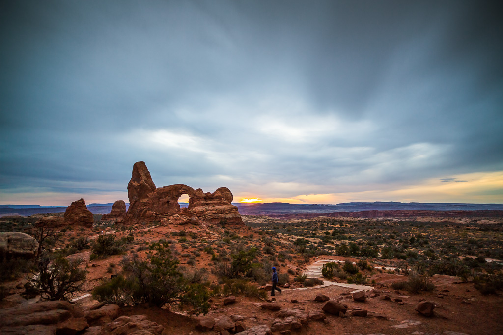 Turret Arch at sunset in Arches National Park. Taken by Jon Armstrong for blurbomat.com.