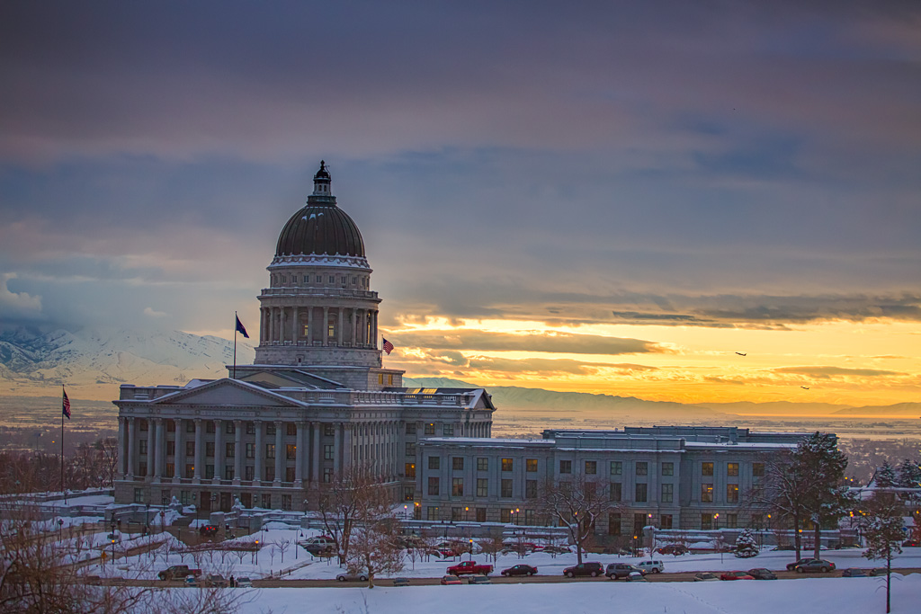 Blurbomat - Jon Armstrong - Utah Capitol Sunset - 2013, architecture, Canon 5D Mark III, Canon EF 70-200mm f/4 L USM, Jon Armstrong blog, Jon Armstrong photography, photography, Salt Lake City, sunset, Utah, Utah State Capitol, winter