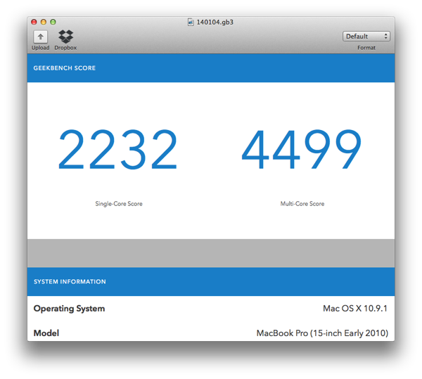 140105 2010 Macbookpro geekbench3