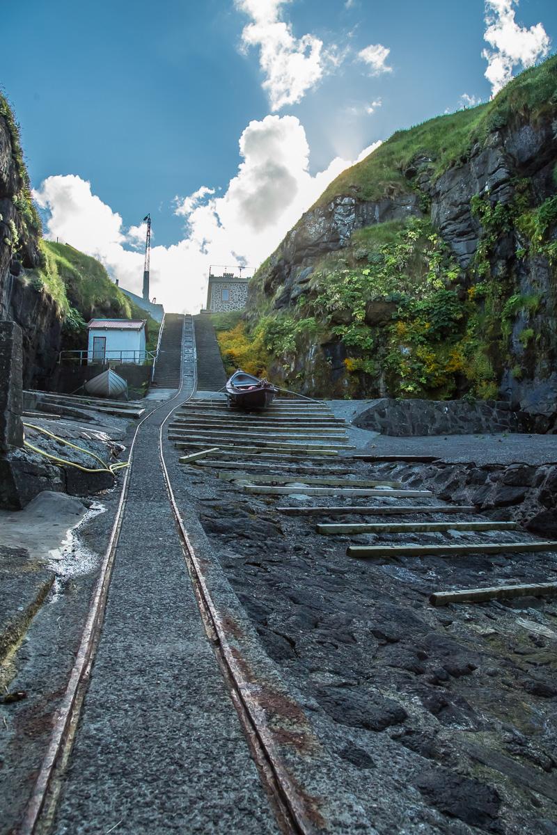 Looking up toward Gjógv in the secret harbor, Faroe Islands - Blurbomat.com