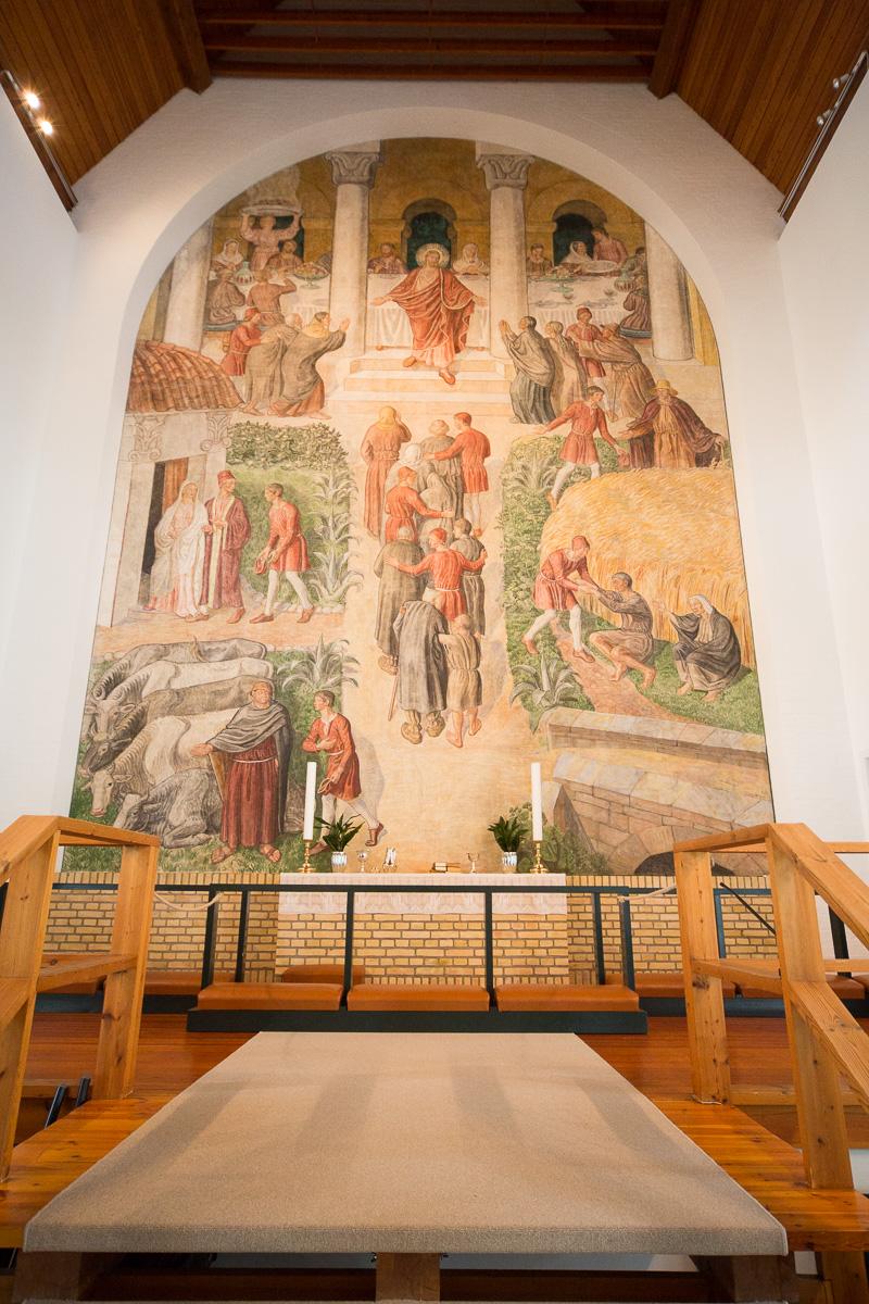 Fresco in the Klaksvík state church, Faroe Islands. by Jon Armstrong for Blurbomat.com.