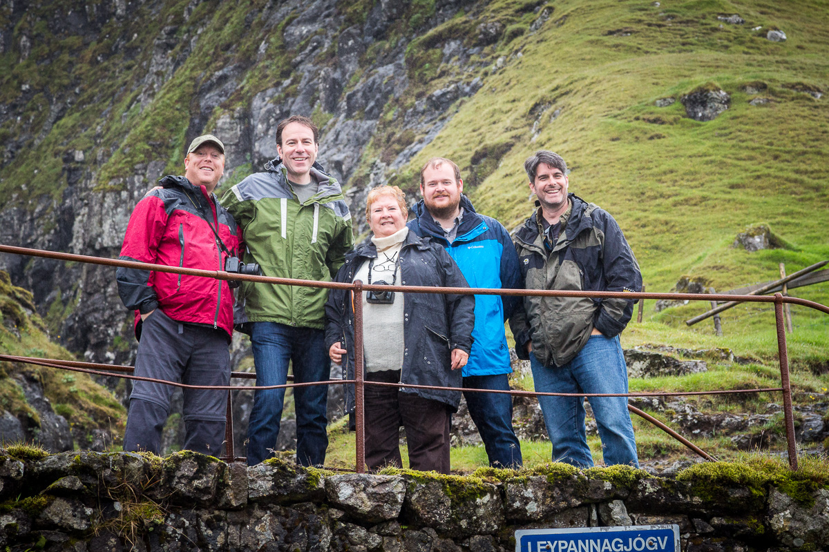 Nordic Obsession Tours inaugural group near Leypannagjogv, Faroe Islands. From the left: Red Hunt, Jon Armstrong, Jennifer Henke, Ryan Tobin and Matthew Workman. Photo taken by Tollakur Hansen.