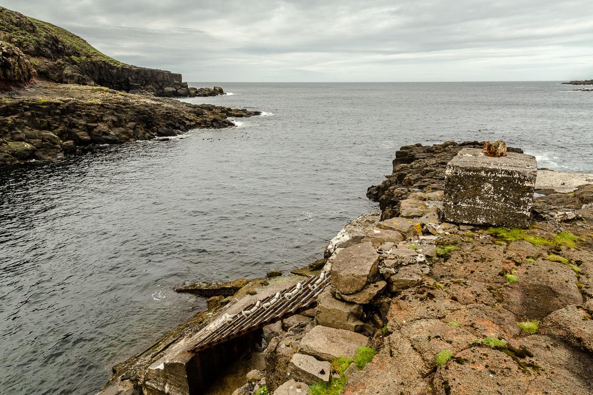 Very steep boat ramp with rollers, Suduroy, Faroe Islands.