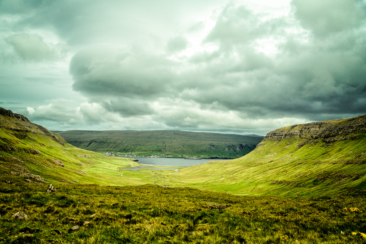 Cloudy, but light, from the high road on Suduroy, Faroe Islands.
