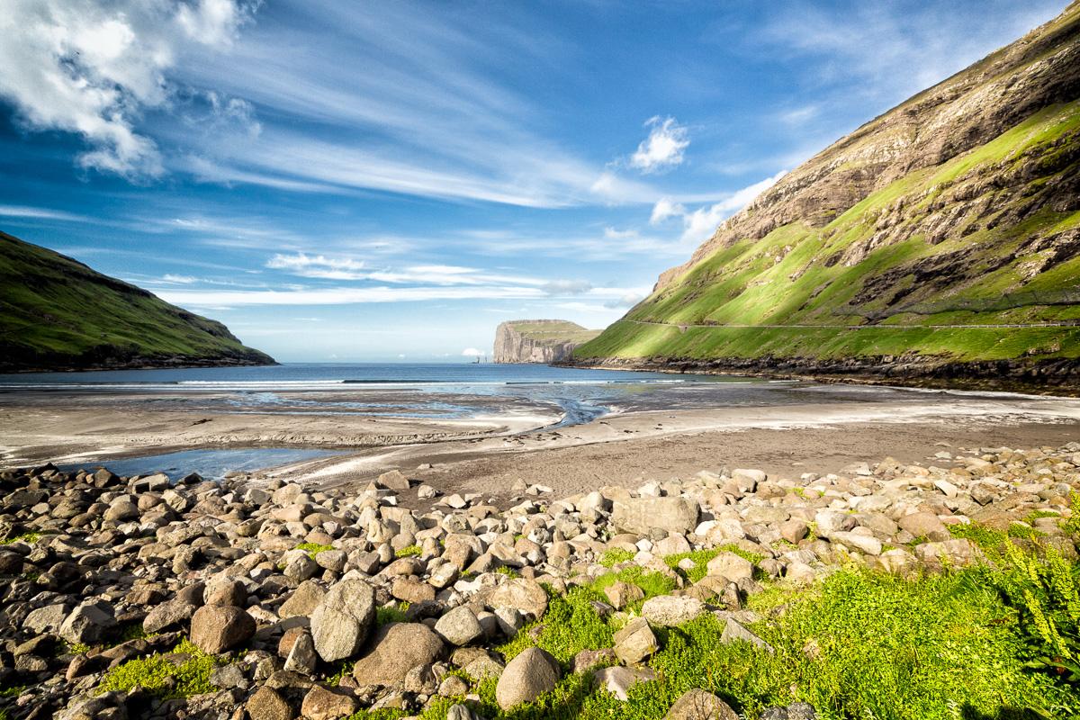 Rocky beach at Tjørnuvík