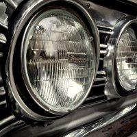 Detail: Headlights on a 1968 Chevrolet Malibu Chevelle