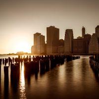 Jon Armstrong Photography   Looking from Brooklyn Bridge Park to Sunset Across Lower Manhattan, September, 2015. Pentax 645.