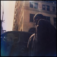 Profile of a man on the street, Brooklyn, New York   Blurbomat.com
