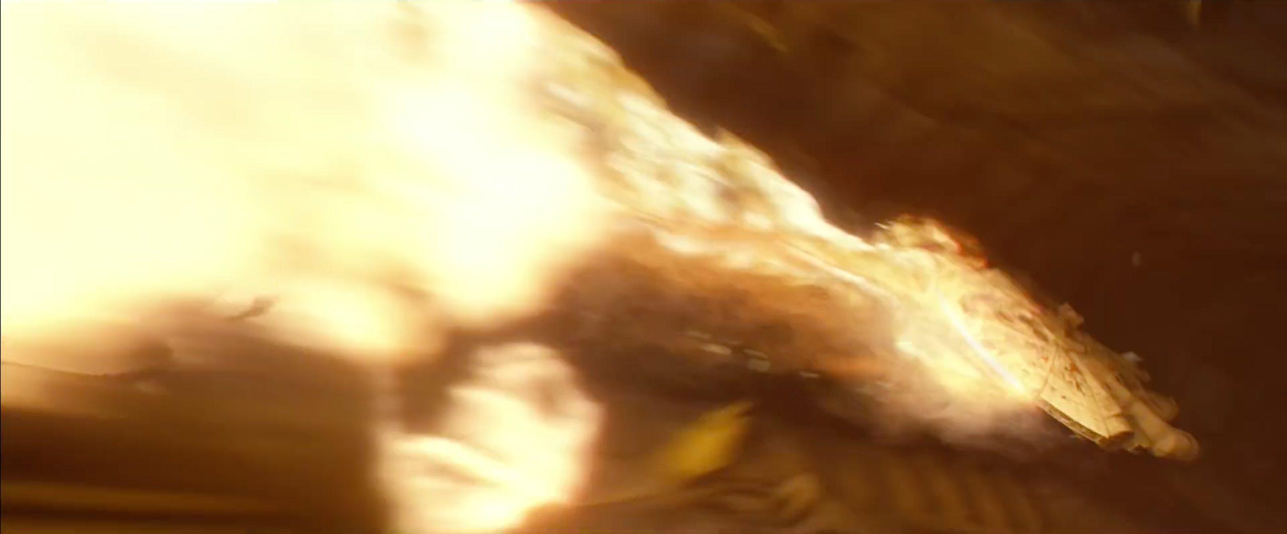 Millenium Falcon in a fireball | Blurbomat.com