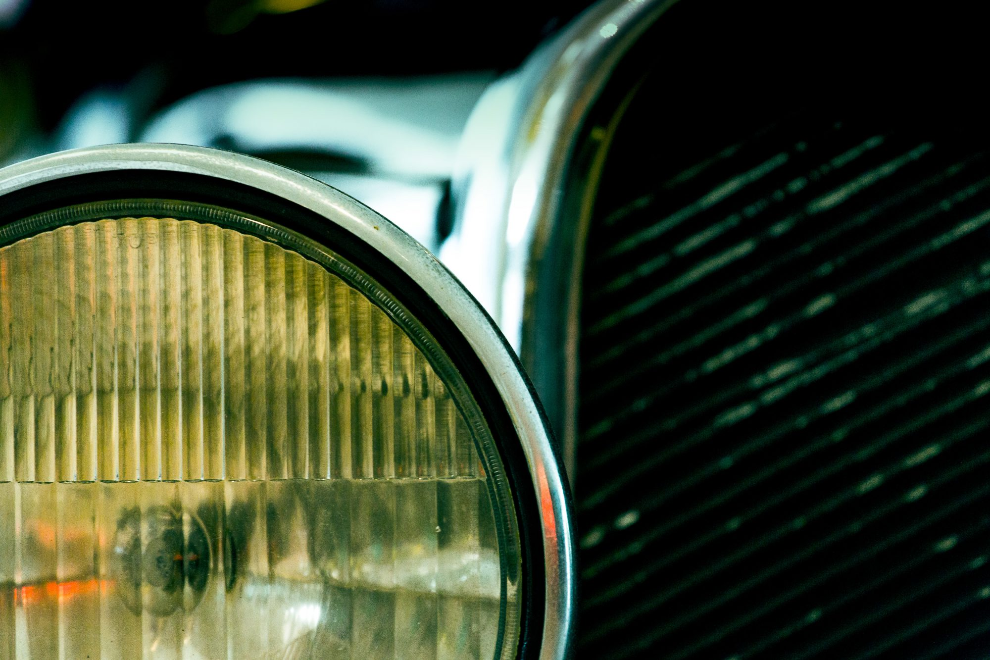 Headlight on a vintage car